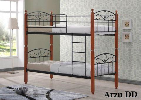 Двухъярусная кровать Арзу - DD металлическая с деревянными ножками 90х190 темный орех