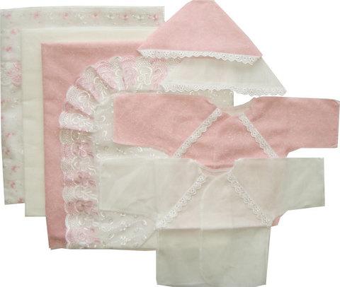 Папитто. Комплект на выписку 8 предметов с пододеяльником из кружевного полотна, розовый вид 1