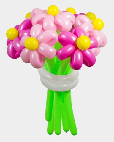 Ромашки из шаров ярко-розовые
