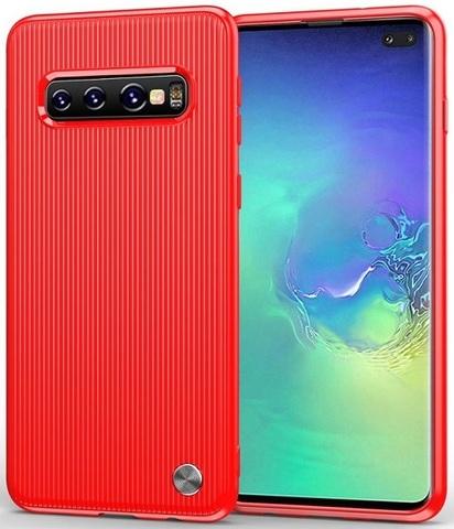 Чехол Samsung Galaxy S10 Plus цвет Red (красный), серия Bevel, Caseport