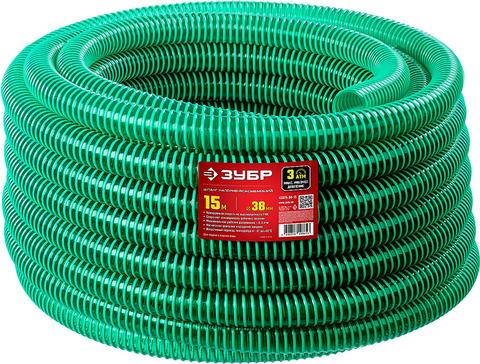 ЗУБР Шланг напорно-всасывающий со спиралью ПВХ, 3 атм, 38мм х 15м