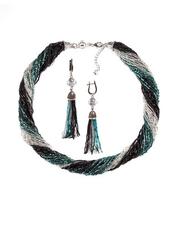 Комплект украшений черно-зеленый (длинные серьги из бисера, бусы из бисера 36 нитей)