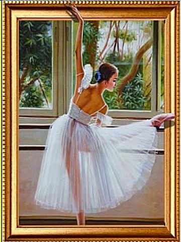Алмазная Мозаика 5D 40x50 Балерина у окна