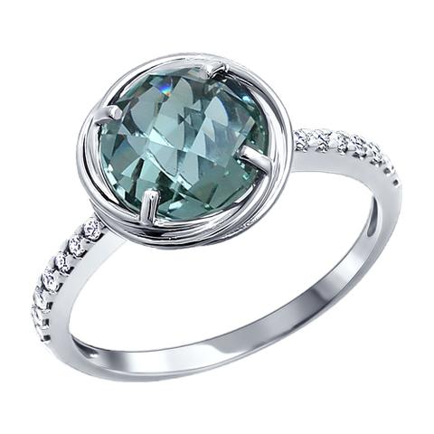 92010726- Классическое серебряное кольцо с кварцем