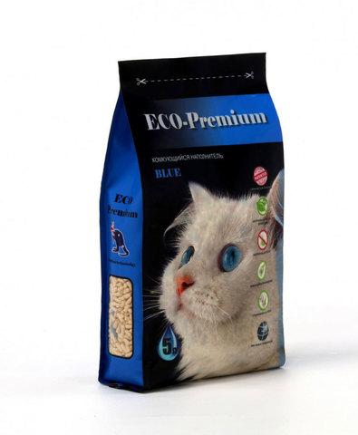 ECO Premium BLUE наполнитель древесный без запаха 5 л