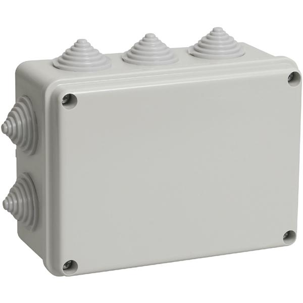 Распаячная коробка ОП 190х140х70мм, крышка, IP55, 10 гермовводов, инд. штрихкод, TDM