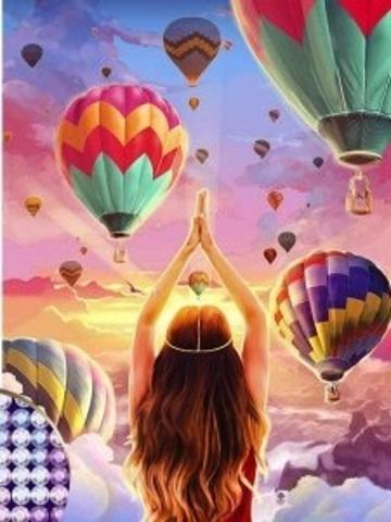 Алмазная Мозаика 5D 40x50 Девушка на фоне воздушных шаров