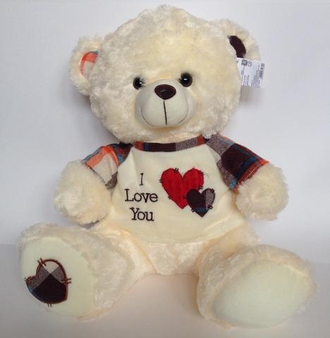 Медведь в жилетке и с сердечком на пятке, 40 см