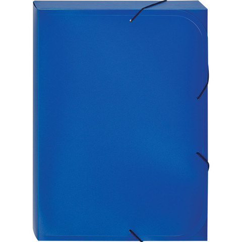 Папка-короб на резинках Attache А4 пластиковая синяя (0.45 мм, до 350 листов)