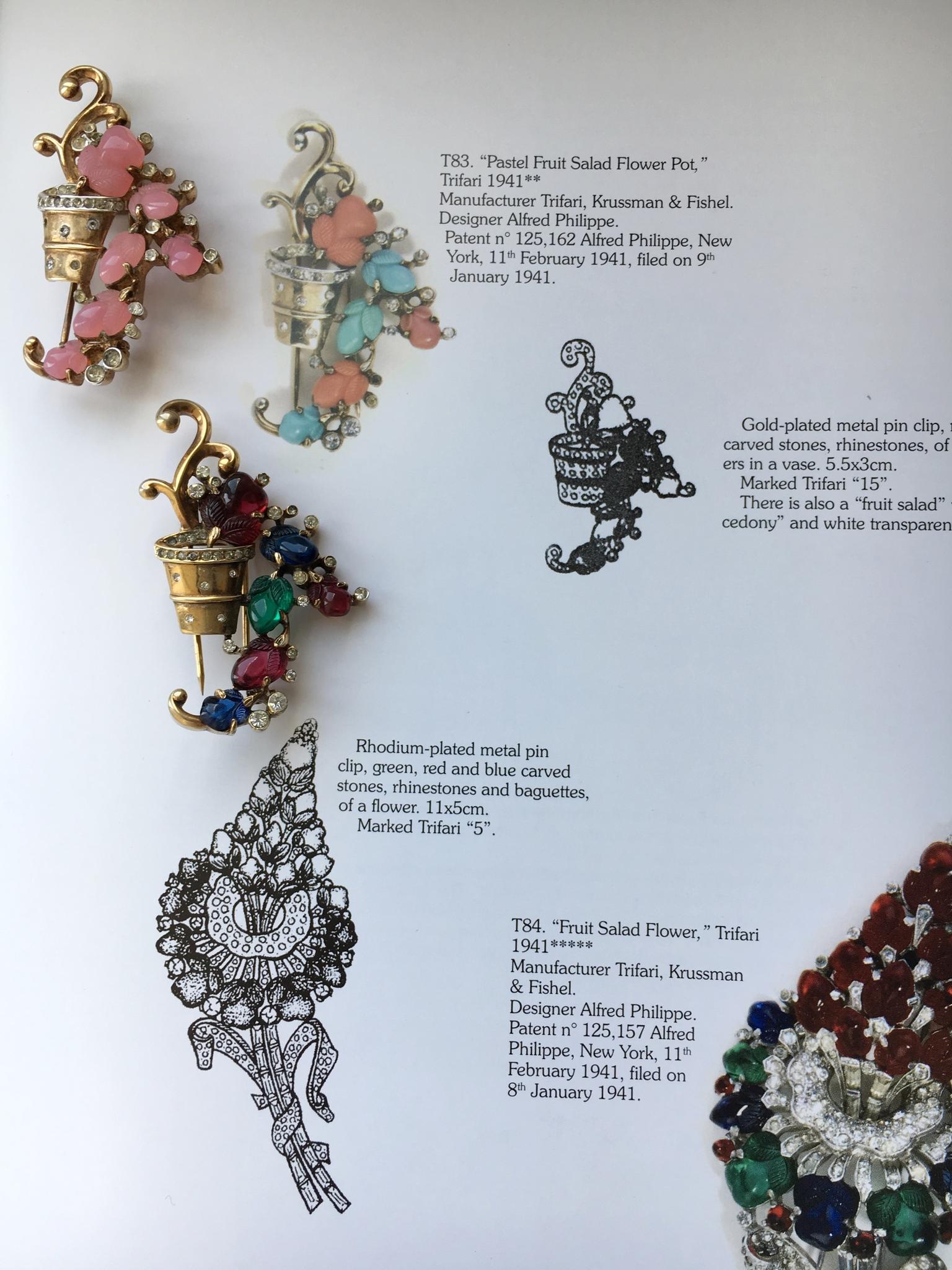 """Коллекционная брошь """"Горшок с цветами"""" от Trifari 1941 года из серии """"Фруктовый салат"""".  Book piece"""