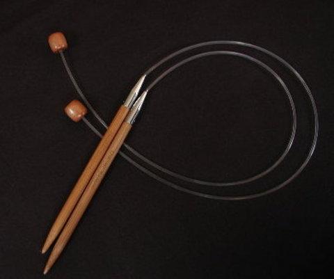 ChiaoGoo Спицы одинарные с фиксатором на леске бамбук