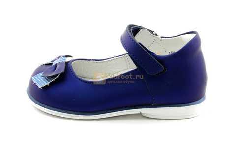 Туфли ELEGAMI (Элегами) из натуральной кожи для девочек, цвет темно синий металлик, артикул 7-83351003. Изображение 3 из 12.