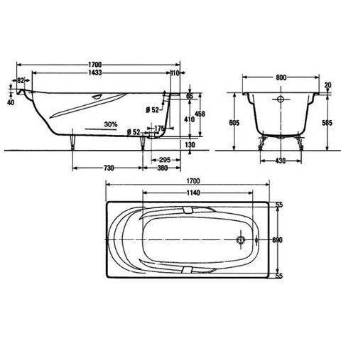 Ванна чугунная Jacob Delafon Adagio 170х80 E2910 схема