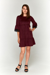 Бордовое замшевое платье-фонарик Lolly