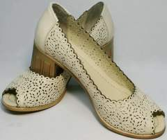 Летние кожаные туфли к бежевому платью Sturdy Shoes 87-43 24 Lighte Beige.