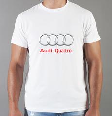 Футболка с принтом Ауди Кватро (Audi quattro) белая 0038