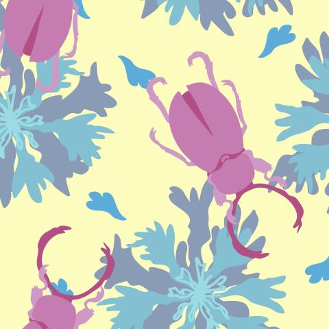 Розовые жуки-рогачи и васильки. Pink stag beetles and cornflowers