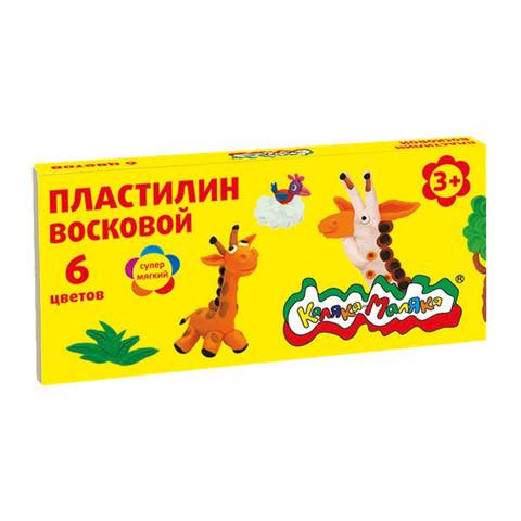 Пластилин восковой Каляка-Маляка 6 цветов, 90 г со стеком/ПВКМ06