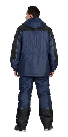 Костюм зимний: куртка дл., брюки тёмно-синий с черным