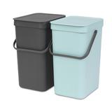 Встраиваемые мусорные ведра Sort & Go (2 x 12 л), Мятный/серый, артикул 109980