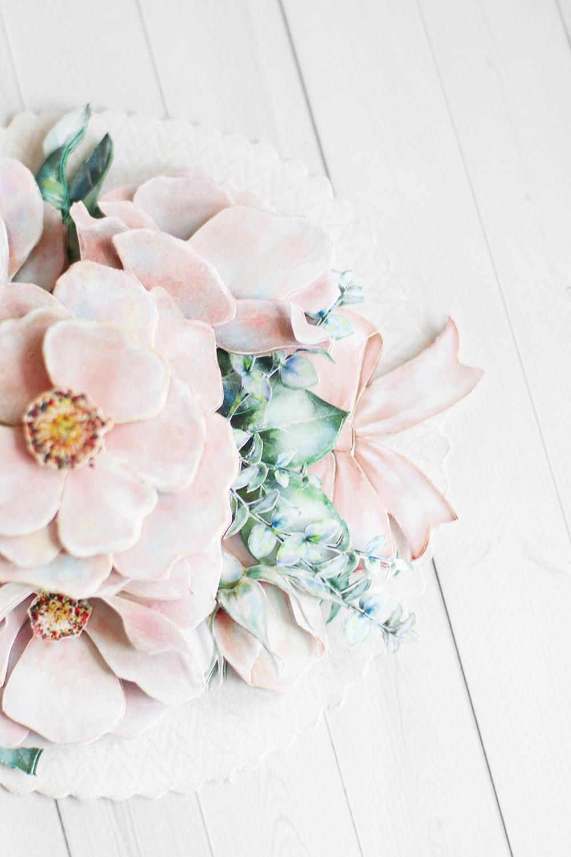 Папертоль Цветы на кружеве - готовая работа, детали