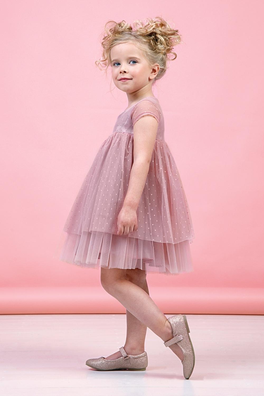 Платье пудровое для девочки 38-9006-3