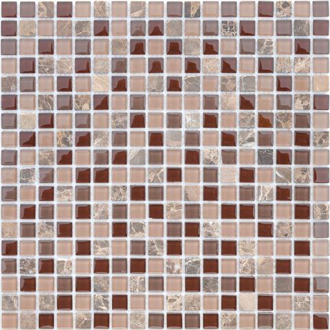 Мозаика стеклянная с камнем Qaradag 15x15x4 305х305