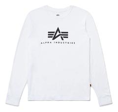 Лонгслив Alpha Industries Basic Logo White (Белый)