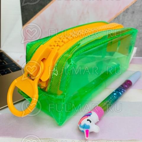 Неоновый прозрачный пенал на молнии-гигант большой Зелёный-Жёлтый школьный для девочки