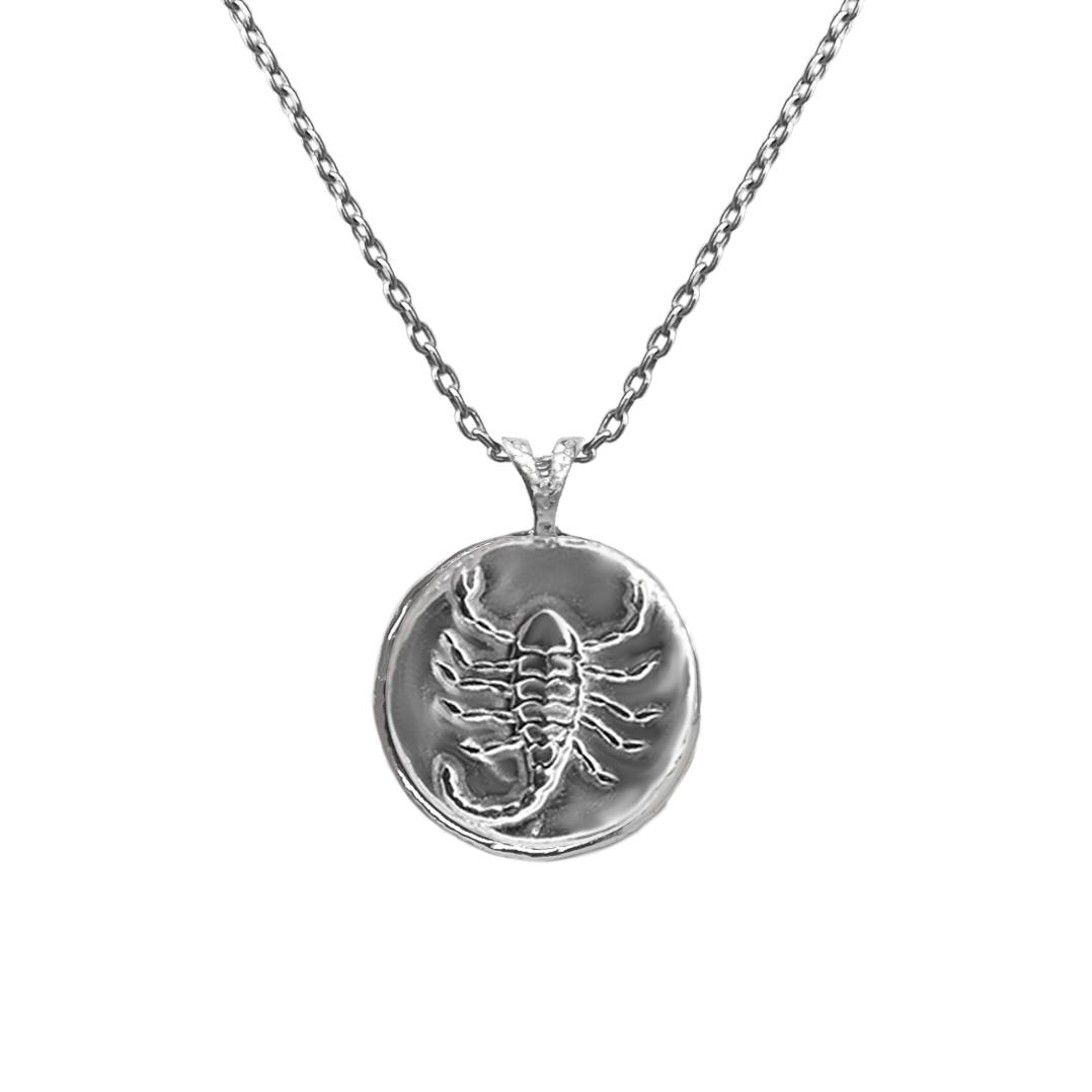 Pendant, Zodiac sign Scorpio on a chain, sterling  silver