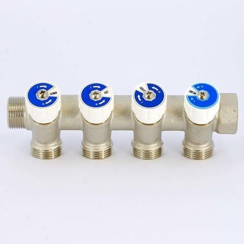 Коллектор НВ 3/4' 4х3/4 EK H 40мм никелированный с вентилями Uni-Fitt