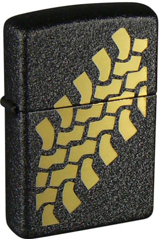 Зажигалка Zippo Tire Tracks с покрытием Black Crackle, латунь/сталь, чёрная, матовая, 36x12x56 мм123