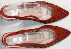 Стильные босоножки женские с закрытым носом G.U.E.R.O G067-TN Red