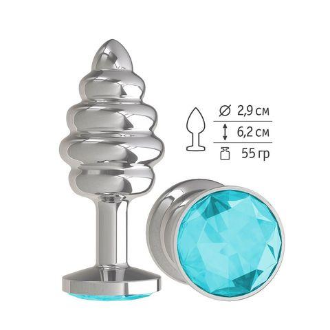 Серебристая пробка с рёбрышками и голубым кристаллом - 7 см.