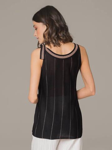 Женский топ черного цвета с бантом на плече - фото 3