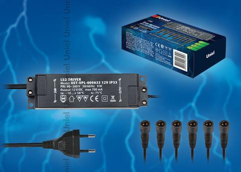 UET-VPL-009А33 12V IP33 6 выходов Блок питания для светодиодов с вилкой, влагозащищенным кабелем и 6 коннекторами. Мощность 9W, напряжение 12V, IP33. Упаковка картонная коробка.