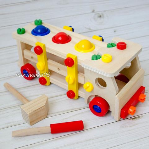 Развивающая игрушка стучалка конструктор Машинка