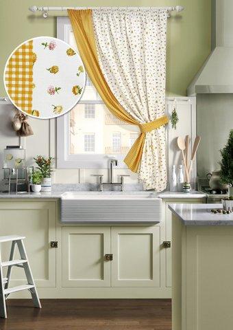 Готовая хлопковая штора для кухни Карен с подхватом