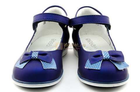 Туфли ELEGAMI (Элегами) из натуральной кожи для девочек, цвет темно синий металлик, артикул 7-83351003. Изображение 5 из 12.