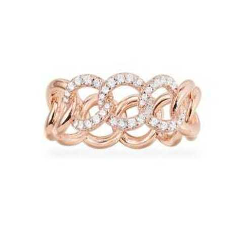 Кольцо из золочёного серебра в виде цепи в стиле APM MONACO узкое