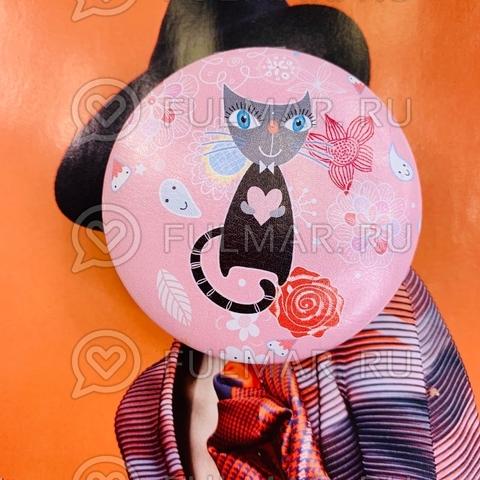 Зеркало складное карманное детское Кошечка розовое