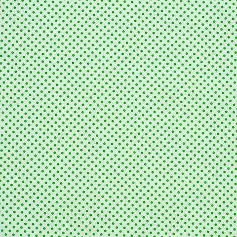 Ткань хлопковая зеленые горошки на белом