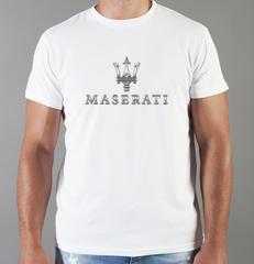 Футболка с принтом Мазерати (Maserati) белая 0013