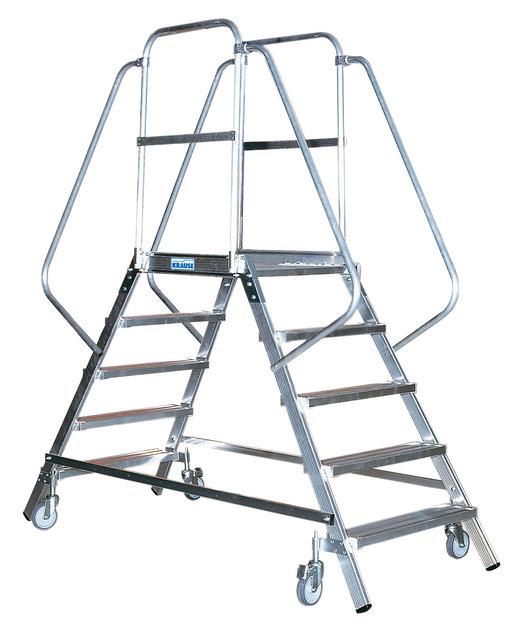 STABILO Односторонняя передвежная лестницас платформой 4-мя алюм. ступеньками