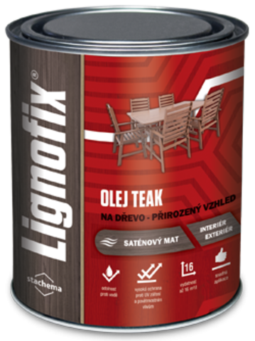 Натуральное масло для древесины Lignofix OLEJ TEAK, 0,75л