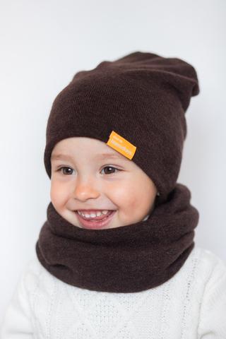 Детский снуд-горловинка из турецкой шерсти горький шоколад