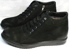 Черные кожаные ботинки мужские зимние Luciano Bellini 71783 Black.