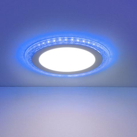 Встраиваемый потолочный светодиодный светильник DLR024 7+3W 4200K Blue