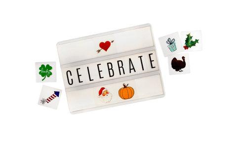 Сменные пластиковые слайдеры- эмодзи  Holiday Icons  для светильника Lightbox   -   Heidi Swapp
