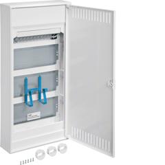 Щит Volta навесной, мультимедийный, в корпусе 4-х рядного, с дверцей, с монт. панелями, с розеткой Schuko, патч-панелью, IP30, RAL9010